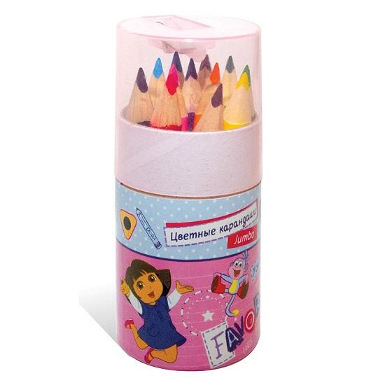 Kuso цветные трехгранные JUMBO мини Даша-путешественница, 12 цветовцветные трехгранные JUMBO мини Даша-путешественница, 12 цветовКарандаши цветные трехгранные Kuso мини Даша-путешественница - это набор цветных трехгранных мини карандашей с необычной печатью фольгой с названием цвета на английском языке, что помогает изучать английский язык. Улучшенная формула грифеля и диаметр стержня обеспечивает мягкое письмо. Мягкий грифель способствует развитию мелкой моторики рук.<br>