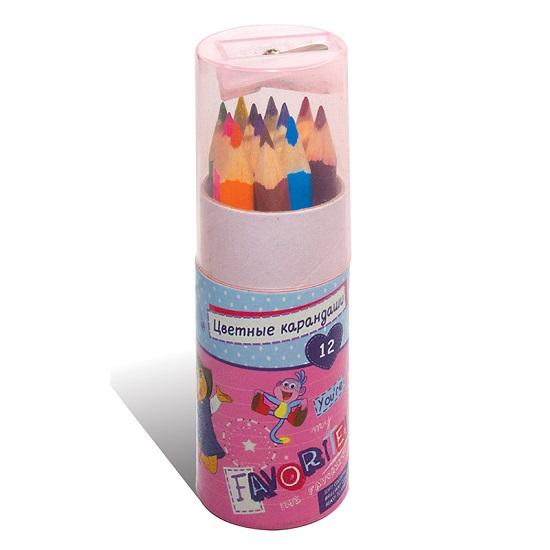 Карандаши Kuso цветные трехгранные JUMBO мини Даша-путешественница, 12 цветов