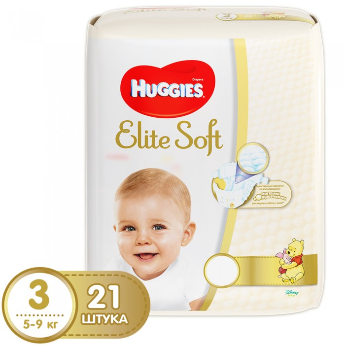 Huggies Подгузники Elite Soft 3 (5-9 кг) 21 шт.Подгузники Elite Soft 3 (5-9 кг) 21 шт.Подгузники Elite Soft содержат 100% натуральный хлопок.  Инновационная разработка компании – супер-мягкий слой «Текстор» со специальными подушечками обеспечивают невероятную мягкость продукту и создают нежную преграду между кожей малыша и жидким стулом.   Особенности: Подгузник содержит натуральный 100%-ный хлопок Пористые материалы позволяют коже дышать Новый супер-мягкий внешний слой «Текстор» со специальными подушечками обеспечивает невероятную мягкость продукту, подушечки создают нежную преграду между кожей малыша и жидким стулом Новый супер мягкий внутренний слой SoftAbsorb впитывает жидкий стул и влагу за секунды, помогая сохранить кожу сухой Мягкий суперэластичный поясок для великолепного прилегания Специальный внутренний кармашек помогает предотвратить протекание  Застёжки легко застёгиваются в любом месте подгузника Индикатор влаги подскажет маме, когда надо поменять подгузник, он меняет цвет с желтого на зеленый  Премиальный дизайн упаковки и продукта. Яркие и узнаваемые герои Дисней, Винни Пух растет вместе с малышом. Линейка Huggies Elite Soft всех размеров выполнена в едином стиле и поможет маме при переходе от размеров для новорожденных на последующие.   Новый супер-премиальный подгузник Huggies Elite Soft порадует самых требовательных мам и их малышей, которые не согласятся на меньшее чем самое лучшее.   Размер упаковки 23.7х17.3х10.5 Вес упаковки: 0.65<br>