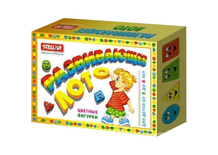 Стеллар Лото развивающее Цветные фигуркиЛото развивающее Цветные фигуркиСтеллар Лото развивающее Цветные фигурки познакомит ребенка с различными геометрическими фигурами, научит быстро находить их среди других и отличать друг от друга. Игра подходит для компании детей до четырех человек.   Игроки получают по карточке. На карточке и на фишках - изображения цветных геометрических фигур: квадрата, круга, треугольника, шестиугольника, трапеции в различных цветовых вариациях (желтый, красный, зеленый, синий). Ведущий достает из мешочка по одной фишке. Если она совпадает с картинкой на карточке, следует закрыть картинку фишкой. Кто первый закрыл все картинки на своей карточке - тот выиграл.  Играя в лото, малыш развивает память и скорость реакции, тренирует внимание, усидчивость и сосредоточенность, совершенствует умение оценивать ситуацию, сопоставлять, выстраивать логический или ассоциативный ряд. И самое главное - ребенок учится играть в коллективе и соблюдать правила игры.  В комплекте: Карточки: 4 шт. Фишки в виде цветных геометрических фигур: 40 шт.  Размер карточки: 16 x 12 см  Размер фишки: 4 x 4 см<br>