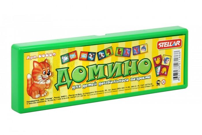 Стеллар Домино в футляреДомино в футляреСтеллар Домино в футляре с изображением зверушек, которых малыш наверняка уже видел и на улице, и в мультфильмах, и в своих книжках. Набор упакован в аккуратный футляр из цветного пластика.   Играя в домино, малыш развивает свое логическое мышление и ассоциативную память, тренирует внимание и сосредоточенность, совершенствует умение оценивать ситуацию, учится классифицировать предметы, сравнивать и находить соответствия. Однако самый важный плюс этой игры - ребенок учится играть в коллективе и соблюдать правила игры.<br>