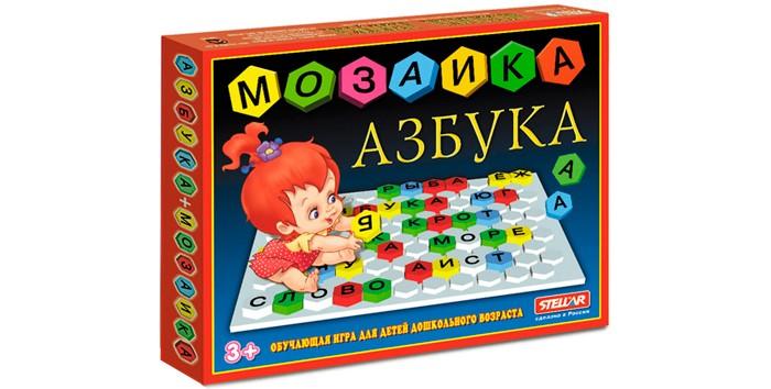 Стеллар Мозаика АзбукаМозаика АзбукаКонструктор Стеллар Мозаика Азбука совершенствует мелкую моторику, координацию движений, развивает воображение, логическое и абстрактное мышление, облегчает познание формы, цвета и размеры предмета.  Из этой мозаики можно не только составлять картинки, но и собирать слова и даже предложения. Возможно, сначала в словах будут ошибки - а кто не ошибается? - но совсем скоро они исчезнут. Со словами можно придумать множество развлечений, например, составлять короткие слова из одного длинного, или добавлять слоги к уже существующим, чтобы получилось новое слово.  Цвета мозаики: желтый, красный, зеленый, синий, белый.  Размер поля: 25 х 31 см Размер фишки: 2.5 см<br>