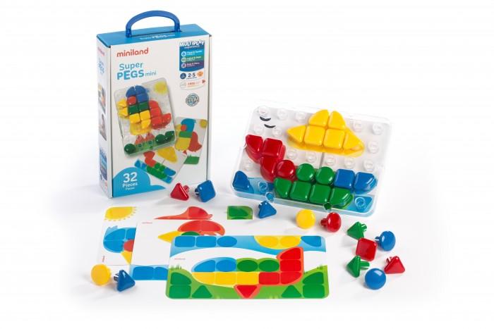 Miniland Мозаика Гигант 32 элемента 4 этюдаМозаика Гигант 32 элемента 4 этюдаМозаика Гигант, 32 элемента (95083) – отличная развивающая игрушка для малышей. Крупные детали, минимальная цветовая подборка мозаичных элементов, понятные четкие цветные панели для создания рисунка позволят детям самостоятельно справляться с задачей, получая удовольствие от игры и приобретая полезные навыки. Игрушка интересна для ребенка и при этом развивает мелкую моторику пальцев рук, координацию движения, воображение, творческие навыки.  Особенности: Размеры – 39 х 36 мм. Доска, 4 цветные картинки панели, 32 разноцветных колышка. Мозаика предназначена для детей от 2 до 5 лет.<br>
