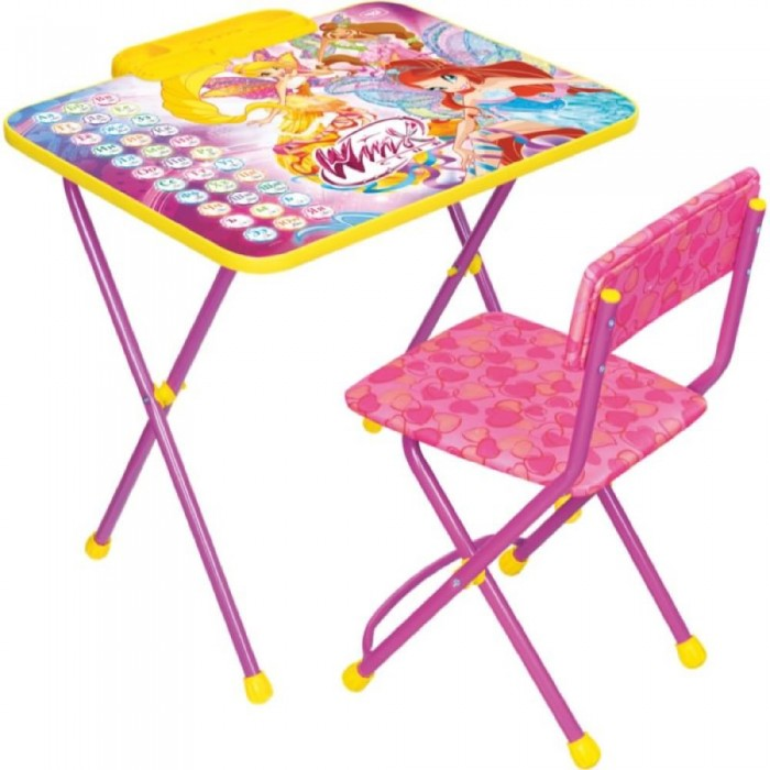 Ника Набор мебели Winx 2 АзбукаНабор мебели Winx 2 АзбукаНабор детской мебели Disney Winx 2 Азбука предназначен для детей возраста от 3 до 7 лет. Это безопасная, удобная мебель, которая компактно складывается и экономит пространство Вашей квартиры. Углы стола и стула мягко закруглены, основу мебели составляет металлический каркас, а форма и габариты соответствуют росту и весу ребенка.   С набором детской мебели Disney Ваш ребенок будет с удовольствием получать новые знания, тренировать полученные навыки и развивать свои творческие способности! Главное в обучении ребенка – это правильный подход в форме игры, поэтому каждый стол – тематический.  В набор входят: складной стол высотой 57 см складной стул  пенал<br>