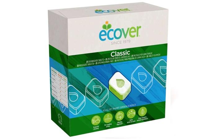 Ecover Экологические таблетки для посудомоечных машин 500 гЭкологические таблетки для посудомоечных машин 500 гЭкологические таблетки для посудомоечных машин 500 гр.  Великолепно растворяют жиры, придают блеск. Не оставляют разводы. Созданы исключительно на основе растительных, минеральных веществ. Не содержат нефтепродуктов, хлоросодержащих средств, фосфатов. Полностью биоразлагаемы. Не наносят ущерб окружающей среде, источникам воды. Каждая таблетка находится в индивидуальной упаковке. Одной таблетки достаточно на полную посудомоечную машину!  Состав: Цитрат натрия; перкарбонат натрия; кабонат натрия; дисиликат динатрия; гидрокарбонат натрия; полиаспарагинат натрия; этилендиаминтетра уксусная кислота (ЭДТА); вода; изооктилглюкозид; D-глюцитол; рапсовое масло; натуральный ароматизатор; глицерин; амилаза; субтилизин; лимонен; глюконат натрия.  Способ применения: Очистить посуду от остатков пищи. Разверните таблетку из упаковке и поместите в отведенное место в посудомоечной машине. Включите машину следуя инструкции.  Упаковка: 500 гр (25 таблеток).<br>