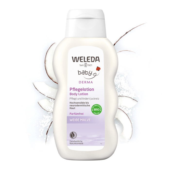 Weleda Молочко для гиперчувствительной кожи тела с алтеем 200 млМолочко для гиперчувствительной кожи тела с алтеем 200 млМолочко для тела Weleda с алтеем разработано специально для гиперчувствительной и склонной к атопии кожи. Натуральные масла, входящие в состав лосьона, очень хорошо увлажняют кожу, а экстракт алтея способствует снятию раздражения. Без запаха.  Состав: Water (Aqua), Cocos Nucifera (Coconut) Oil, Sesamum Indicum (Sesame) Seed Oil, Glycerin, Alcohol, Cetearyl Glucoside, Beeswax (Cera Alba), Hydrogenated Coco-Glycerides, Theobroma Cacao (Cocoa) Seed Butter, Borago Officinalis Seed Oil, Carthamus Tinctorius (Safflower) Seed Oil, Helianthus Annuus (Sunflower) Seed Oil Unsaponifiables, Glyceryl Stearate SE, Prunus Amygdalus Dulcis (Sweet Almond) Oil, Althaea Officinalis Root Extract, Viola Tricolor Extract, Xanthan Gum, Glyceryl Caprylate, Squalane.  Способ применения: наносите молочко для тела на сухую и чистую кожу малыша, нежными и аккуратными движениями втирайте в кожу до впитывания.  Объём: 200 мл<br>