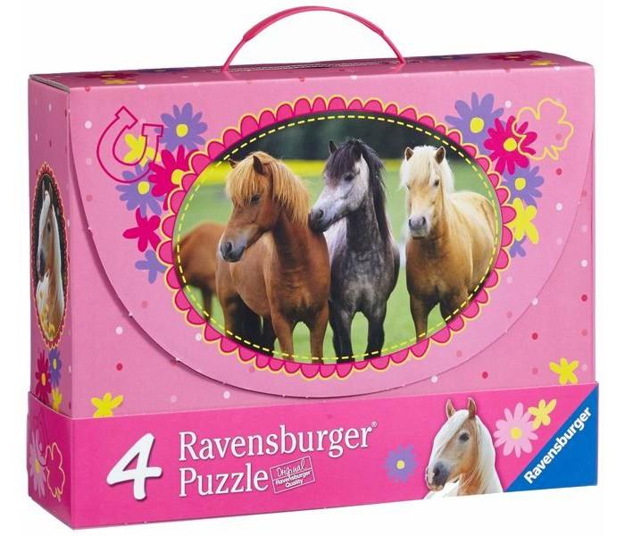 Ravensburger Пазл 4 в 1 Красивые лошади 2х64 и 2х81 элементовПазл 4 в 1 Красивые лошади 2х64 и 2х81 элементовПаззл Ravensburger: От частицы к частице – всё высшее качество  Отсутствие двух одинаковых деталей обеспечено использованием вручную изготовленного инструментария Частицы идеально соединяются Матовая поверхность исключает неприятные отблески Прочные детали не ломаются Изготовлено из экологического сырья  Количество деталей паззла: 290 В комплекте 4 паззла: 2х64 элемента и 2х81 элемента Материал: картон и бумага, части устойчивы к сгибанию<br>