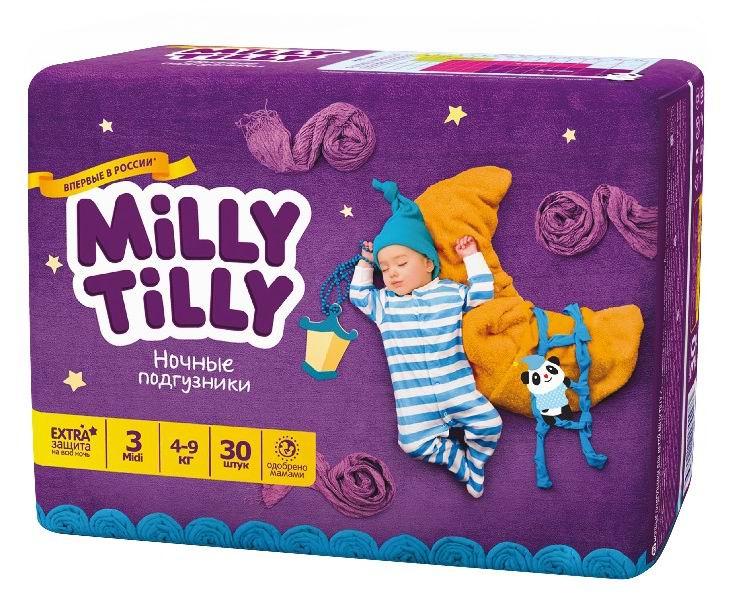Milly Tilly Ночные подгузники Миди 4-9 кг 30 шт.Ночные подгузники Миди 4-9 кг 30 шт.Подгузники Milly Tilly ночные - инновационные ночные подгузники, которые созданы с учетом пожеланий мам для здоровья и комфорта малышей. Эти подгузники необычайно комфортные благодаря эластичным пояскам и застежке Magic Fix. Застежки многоразовые, цифры на пояске помогут симметрично застегнуть подгузник. Эластичный пояс не стесняет движений и хорошо прилегает к телу - подгузник хорошо сидит, не причиняя неудобств при движении. Подгузники приятные на ощупь за счет специального мягкого дышащего материала. Нежные оборочки не будут натирать кожу между ножек даже у крепышей, потому что сделаны из трех мягких резиночек.   Верхний слой быстро впитывает большое количество влаги, которую уникальная система Liquid Security распределяет равномерно по всему подгузнику, не давая образовываться комочкам. Поэтому кожа ребенка всегда будет оставаться сухой. Яркие изображения на поясе подгузника - веселый, поднимающий настроение элемент дизайна.  Особенности: Комфортные для ночного периода: не деформируются во время сна Эластичный пояс не стесняет движений, не натирает кожу ребенка Боковые барьеры с двух сторон предотвращают протекания Крепкие застежки системы Magic Fix многоразового использования. Цифры на поясе помогут симметрично застегнуть подгузник Быстро впитывающий дышащий верхний слой выполнен в виде сот. Мягкий и приятный на ощупь, не скользит, не шуршит и не сминается Ночные подгузники впитывают гораздо больше жидкости и дольше сохраняют ощущение сухости Оборки вокруг ножек на трех мягких резинках Уникальная двухъядерная система Liquid Security: 1 ядро - двухслойный материал с суперабсорбентом, 2 ядро - суперабсорбент с целлюлозой. Быстро распределяет влагу по всему подгузнику, предотвращая образование комков На каждом подгузнике яркое изображение<br>