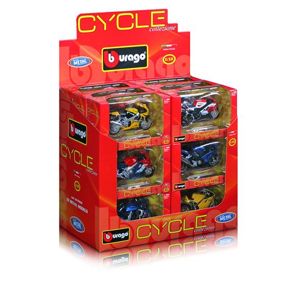 Bburago МотоциклМотоциклМотоцикл Bburago в ассортиментеR – это копия настоящего мотоцикла с полной детализацией всех частей, 1:18  Игрушка выполнена из высококачественного металла и пластика. Детали и края аккуратно обработаны.<br>