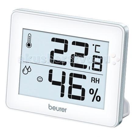 Термометр Beurer HM16 гигрометрHM16 гигрометрЦифровой термогигрометр Beurer HM16 измеряет не только температуру и влажность воздуха, но и сохраняет максимальное и минимальное из измеренных значений. Прибор может быть повешен на стену или установлен на стол.  Отличительные особенности: Стильный дизайн и большой дисплей (7.4 х 5 см) Индикация смайликов в зависимости от температуры и влажности Отверстие для подвешивания Выдвижная настольная подставка Измерение и отображение температуры и влажности воздуха Переключатель °C, °F выбор шкалы по Цельсию или Фаренгейту для измерения температуры. Кнопка Max/Min отображение максимальной/минимальной температуры и влажности воздуха  Технические характеристики: Диапазон измерения: - температура: от 0° до +50° С (точность: ±1° С) - влажность от 20% до 95% Размер дисплея: 7.4 х 5 см Размер прибора: 10х8х1.2 см Питание: батарейка CR2025  Комплектация: Метеостанция Beurer HM16 Инструкция по применению  Производитель:Beurer GmbH , Германия<br>
