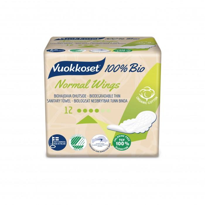 Гигиена для мамы Vuokkoset Женские гигиенические прокладки 100% Bio Normal 14 шт.