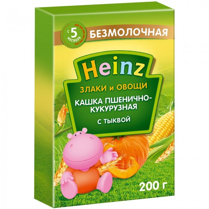 Heinz Безмолочная пшенично-кукурузная каша с тыквой с 5 мес., 200 гр.