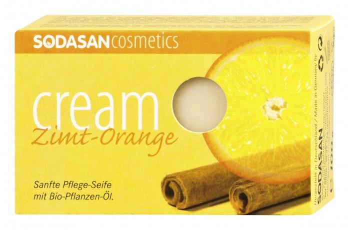 Sodasan Мыло-крем туалетное твердое глицериновое Корица-апельсин 100 г