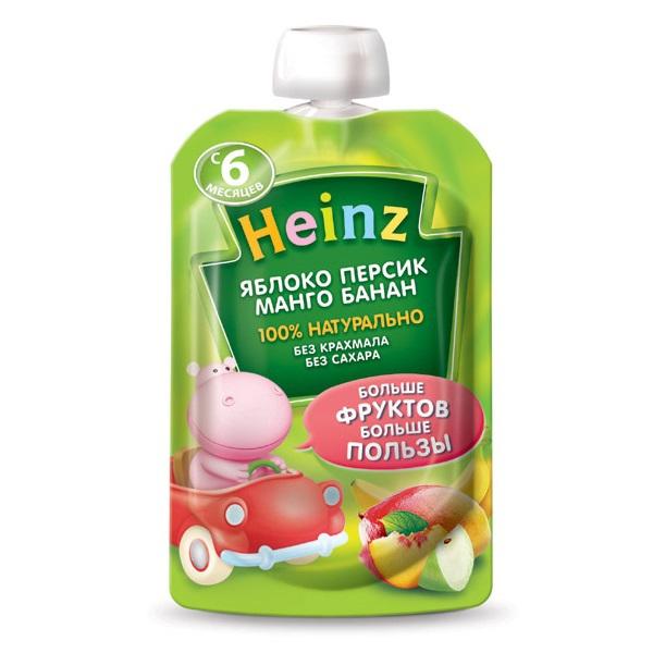 Heinz Пюре яблоко,персик,манго,банан с 6 мес., 100 г. (пауч)Пюре яблоко,персик,манго,банан с 6 мес., 100 г. (пауч)Пюре «Heinz» яблоко,персик,манго,банан предназначено для питания детей в возрасте от 6 месяцев.  В яблочном пюре содержатся органические кислоты, которые имеют особое значение для детей первого года жизни. Пектин благоприятно влияет на работу желудочно-кишечного тракта, способствуя процессу пищеварения. Витамин С отвечает за развитие кровеносных сосудов, зубов, костей, улучшая усвоение железа. Персик богат калием, витаминами В1, В2, РР и С, минеральными солями, которые благотворно влияют на работу внутренних органов. Каротин провитамин А способствует росту. Персики стимулируют рост и укрепляют иммунитет. Плоды манго богаты витаминами A, B и C, отличаются высоким содержанием природных сахаров. В состав мякоти манго входят органические кислоты и 12 незаменимых аминокислот. Богаты плоды манго и каротиноидами, которые обуславливают желтую или оранжево-желтую окраску. Минеральные вещества, содержащиеся в манго, представлены кальцием, фосфором, железом, магнием и цинком. Регулярное употребление манго укрепляет иммунную систему и оказывает антиоксидантное действие. Манго снимает нервное напряжение, повышает настроение. Бананы имеют богатый витаминный состав: витамины Е, С, В6, кальций, калий, железо и фосфор. Пюре содержит не менее четверти рекомендованной ежедневной дозы витамина В6. Упаковка позволяет брать пюре с собой на прогулку или отдых. Малышу надо всего лишь надавливать на пакетик и кушать самостоятельно, не проливая на себя ни капельки.  Пюре не содержит красителей, консервантов, ароматизаторов, генетически модифицированных компонентов, молочного белка, глютена, модифицированного крахмала, сахара.  Состав: пюре яблочное концентрированное, вода питьевая, пюре персика, пюре манго, пюре банановое, сок лимонный концентрированны(регулятор кислотности), витамин С.<br>