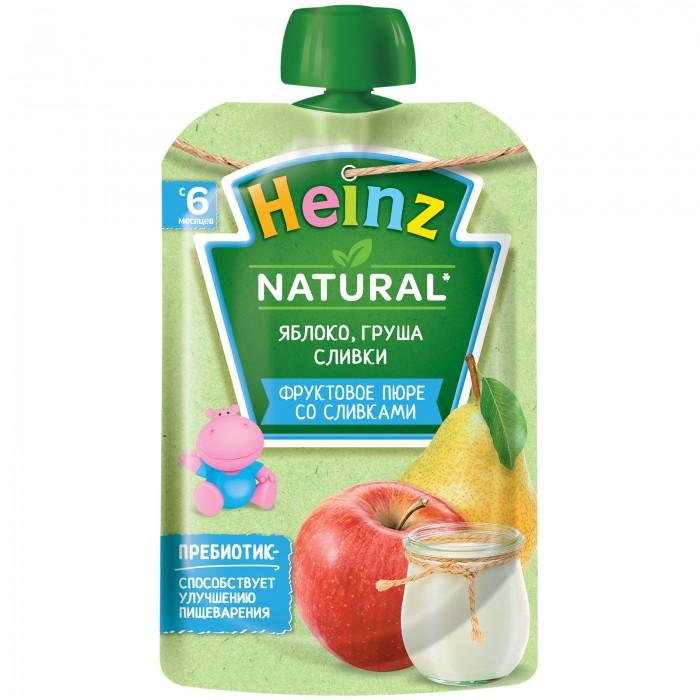 Heinz Пюре яблоко, груша, сливки с 6 мес., 90 гр. (пауч)Пюре яблоко, груша, сливки с 6 мес., 90 гр. (пауч)Пюре Heinz (Хайнц) Яблоко-Груша-Сливки, рекомендуется детям с 6 месяцев. Пюре содержит комплекс витаминов и микроэлементов, необходимых для здорового роста крохи. Оно на 100% натуральное, при изготовлении не используются красители, ГМО, крахмал. Пюре обладает нежной консистенцией и приятным фруктово-сливочным вкусом. Яблоко - источник железа, витамина С и пектиновых веществ, способствующих здоровому пищеварению. Оно является самым низкоаллергенным фруктом, поэтому идеально подходит для первого прикорма. Груша повышает аппетит, так как богата органическими кислотами, способствующими выделению пищеварительных соков. Сливки содержат большое количество легкоусвояемого молочного жира. Они богаты витамином А, железом и кальцием, необходимым для развития костной ткани. Пюре упаковано в удобный для прогулок герметичный пакет.   Состав: пюре яблочное натуральное, пюре грушевое, сливки питьевые, сахар. Без крахмала, консервантов, красителей, ГМО, ароматизаторов. 100% натуральное пюре. Энергетическая ценность на 100 г продуктов: 82,7 ккал. Пищевая ценность на 100 г продуктов: белки - 0,5 г, углеводы - 15 г, в том числе сахар - 6,5 г, жиры - 2,3 г, калий - 80 мг.   Способ применения: Готово к употреблению. Перед употреблением перемешать. Начинайте кормление с 1 чайной ложки, постепенно доводя порцию до возрастной нормы. Нужное количество подогреть, не добавляя сахара<br>