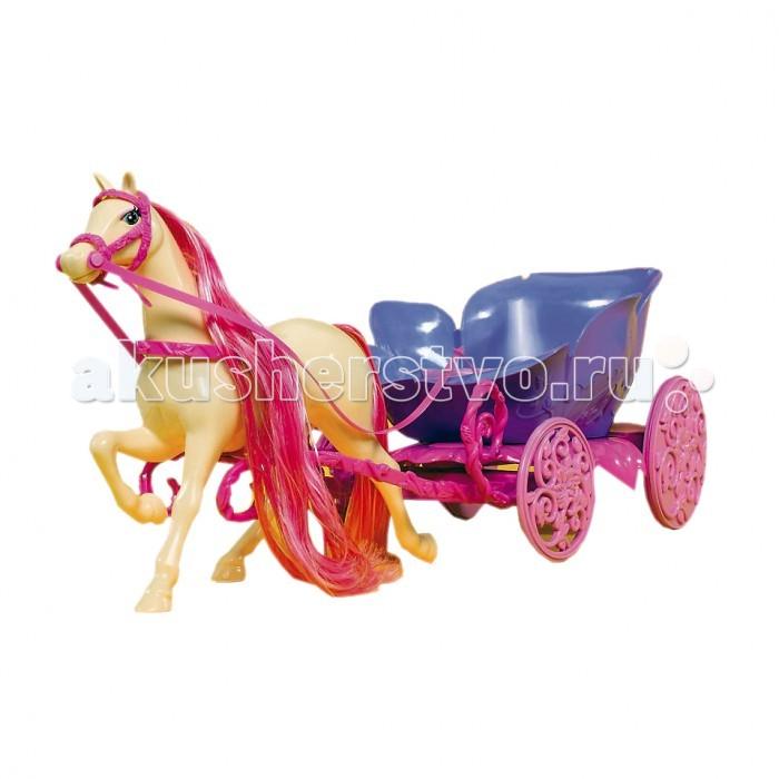 Simba Набор Лошадь и карета для ШтеффиНабор Лошадь и карета для ШтеффиЗамечательный набор с лошадкой и сказочной каретой прекрасно дополнит коллекцию вашей малышки.   Яркая белая лошадь с розовой гривой и хвостом, стремительно мчится вперед, унося карету вдаль.   Широкая красивая карета отлично подходит для того, чтобы в нее уместились две куклы - Штеффи и ее жених.   Игрушка сделана из прочного высококачественного пластика, очень приятная на ощупь и безопасна для здоровья ребенка.<br>