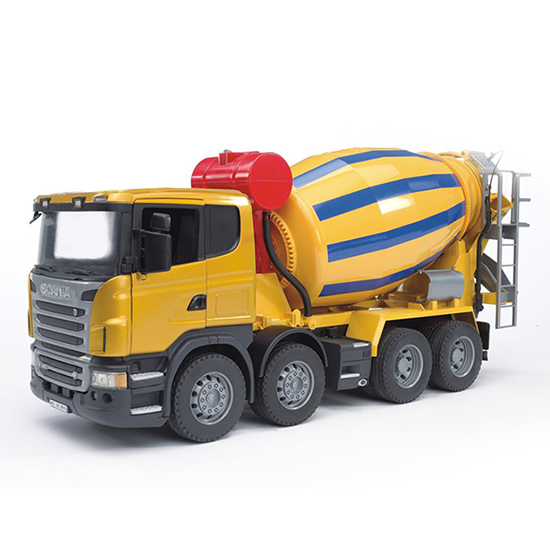 Bruder Бетономешалка ScaniaБетономешалка ScaniaБетономешалка Bruder Scania способна имитировать реальные производственные процессы.    Особенности:    Создана в пропорциях 1 к 16.   Подходит модуль со звуком и светом H  Ее элементы очень точно повторяют оригинальные детали, что существенно увеличивает интерес пользователя к данной модели и позволяет использовать ее не только для игр, но и для домашнего коллекционирования.   Загрузки и разгрузка «бетона» здесь производится с использованием действующих механизмов.   Специальный выдвигающийся лоток пригодится для подачи раствора к месту выполнения рабочих операций.    Все машинки, автомобили, спец. техника Брудер, в том числе и данный экскаватор колёсный Liebherr, сертифицированы в соответствии с действующими правилами. Для их изготовления производитель использует только лучшие современные материалы, не токсичные, не содержащие аллергенов. Добротные комплектующие детали рассчитаны на высокие нагрузки. Такие замечательные игрушки даже после длительного использования сохраняют великолепный внешний вид и технические характеристики.<br>