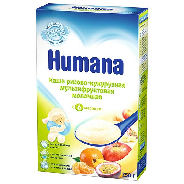 Humana Молочная рисово-кукурузная мультифруктовая Каша, с 6 месяцев