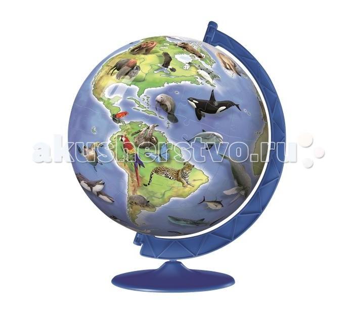 Ravensburger 3D Пазл Глобус с редкими животными 180 элементов