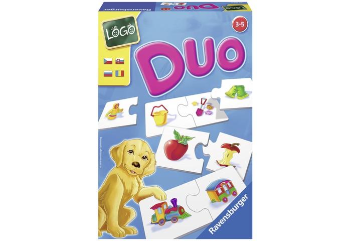 Ravensburger Настольная игра Лого ДуоНастольная игра Лого ДуоНастольная игра Лого Дуо Ravensburger - расширяет круг познаний малыша, тренирует память, развивает логическое мышление, а также координацию рук. Это классическая игра - найди пару. Здесь парой являются подходящие предметы, например, цветок в горшке - лейка, куртка - брюки, паровоз - вагон и т.д.  В процессе игры развивается моторика рук, память и внимание, речь и навыки общения. Собирая разрезные картинки, ребёнок учится логически мыслить, тренирует воображение, пространственное восприятие, память. Для того, чтобы картинка вышла, необходимо научиться переворачивать изображения в мысли, различать элементы за цветом, размера, форме.   Не менее важны и усидчивость, терпение, умение концентрировать внимание, способность доводить начатое дело до конца. А развитие мелкой моторики, сенсорики, координации движений - вообще первостепенные задачи в раннем возрасте. И в этом смысле пазл может оказать малышу неоценимую услугу.   Вы сами с удивлением заметите, как после небольшого периода регулярного складывания картинок непослушные пальчики крохи станут более умелыми и научатся выполнять сложные действия.  В комплекте: 12 пар картинок инструкция на русском языке  Игра рассчитана на 1-4 игроков.<br>