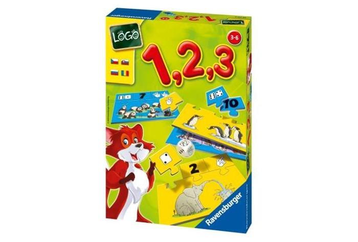 Ravensburger Настольная игра Лого 1, 2, 3Настольная игра Лого 1, 2, 3Увлекательная игра помогает малышу освоить счет от 1 до 10 в доступной игровой форме. В этой игре все довольно просто: кубик подскажет малышам, какую именно карточку нужно искать.  Правила игры: всем игрокам раздается одинаковое количество картинок. Затем карточки перемешиваются и раскладываются на столе рисунком вверх.   Нужно собрать все подходящие карточки, на которых изображены очки кубика, пальцы и цифры, найти их на своей картинке и присоединить. Первый игрок бросает кубик. Какой символ выпадает, такую карточку участник и должен подобрать, а затем присоединить к своей картинке. Если карточек-картинок несколько, то игрок заполняет их постепенно, в течение всей игры. Если выпадает символ, карточка с которым у него уже есть, то ход переходит к следующему игроку.   Игрок, сумевший правильно присоединить все подходящие карточки к своим карточкам-картинкам, становится победителем!  В наборе: 10 карточек картинок с определенным количеством предметов 10 карточек со стороной игрального кубика очки 10 карточек с пальчиками 10 карточек с цифрами игральный кубик с символами  Для детей от 3 лет. Количество игроков: от 1 до 4<br>