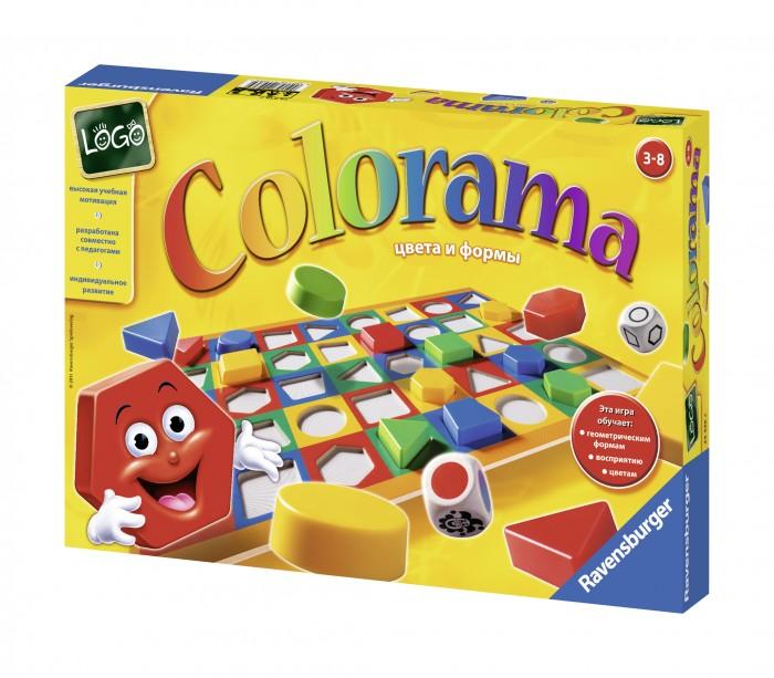 Ravensburger Настольная игра КолорамаНастольная игра КолорамаЗанимательная игра Колорама идеально подойдет для развития Вашего малыша.   С её помощью ребенок выучит цвета и фигуры, разовьет мелкую моторику, логическое и ассоциативное мышление.   В наборе два кубика - один с фигурами, другой с цветами. Выкинув кубики, игрок увидит фигуру и её цвет. Необходимо взять подходящую фишку и поставить на игровое поле.  В наборе: форма, 40 фишек, 2 кубика, мешок  Для детей от 3 лет.<br>