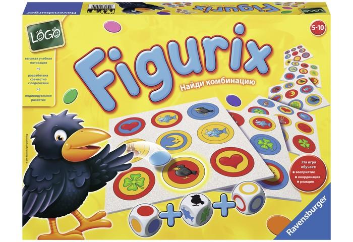 Ravensburger Настольная игра ФигуриксНастольная игра ФигуриксНастольная игра Фигурикс - яркая и увлекательная игра станет любимым развлечением Вашего малыша. Все, что нужно здесь - это правильно разместить на игровом поле свои шесть фишек!  Правила игры: Фишки раздаются всем игрокам поровну. На трех деревянных кубиках изображены кольца, круги и фигуры различных цветов. Один из участников кидает все три кубика, и ту комбинацию, которая на них выпадет, нужно быстрее всех найти на игровом поле и поставить свою фишку! Кто первым найдет на игровом поле больше всех цветовых комбинаций, тот и будет победителем! Игра отлично развивает быструю реакцию, логическое мышление и внимательность.  В комплекте: 6 игровых досок 3 деревянных кубика 36 фишек 6 цветов  Количество игроков: от 2 до 6 Возраст: от 5 лет<br>