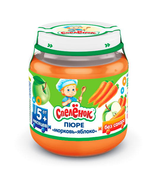 Спеленок Пюре Морковь яблоко с 5 мес. 125 гПюре Морковь яблоко с 5 мес. 125 гСпеленок Пюре Морковь яблоко - один из наиболее любимых и полезных для здоровья овощей. Её яркий оранжевый цвет - это заслуга ценного бета-каротина.   Особенности: Пюре из моркови является важным блюдом в меню малыша - укрепит иммунитет, а также сделает зоркими глазки Содержание в пюре яблочного пектина поможет правильной работе кишечника у маленького ребёнка Пюре имеет вкус и аромат натуральных плодов и овощей, ведь для его приготовления используются свежие овощи и фрукты, выращенные в хозяйствах компании «Сады Придонья». Хранить при температуре от 0°С до +25°С и относительной влажности воздуха не более 75%. После вскрытия упаковки хранить в холодильнике не более суток при температуре от +2°С до +6°С  Состав:  Пюре из моркови Пюре из яблока<br>