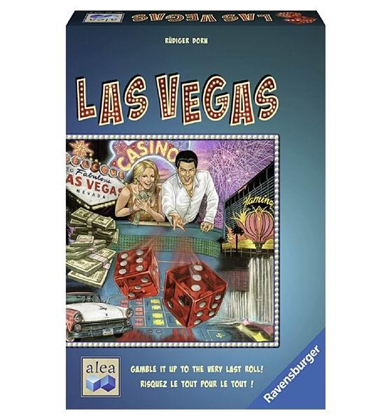 Ravensburger Настольная игра Лас ВегасНастольная игра Лас ВегасЭто интересная и захватывающая игра для всех членов семьи, которая увлечет вас в мир азарта и веселья.  Суть игры состоит в следующем: по центру стола располагают 6 карточек, которые представляют собой казино. На карточках указано изображение игральной кости с разными числами на гранях. Каждый игрок имеет 8 кубиков определенного цвета, которые надо перетасовать и выкинуть на игровое поле.   Далее участник игры выбирает одну из наиболее удачных выпавших комбинаций на кубиках и ставит их на карточку с казино, на которой нарисована такая же грань, что и на игральной кости. Все участники игры постепенно раскладывают свои кубики по казино.   Если на карточке стоит одинаковое количество кубиков от разных игроков, то банкноты не делятся, а убираются в общую колоду.   Выигрывает тот игрок, у которого на карточке оказывается большее количество игральных костей, чем у его противников, и он забирает банкноты себе.   Цель игры: собрать как можно больше денежных купюр.  Состав игрального набора: 40 игральных костей 6 карточек-казино 54 банкноты с разным номиналом инструкция  Количество игроков: 2-5. Время игры: 30 мин.<br>
