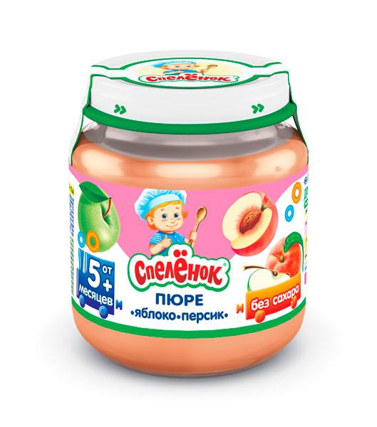 Спеленок Пюре Яблоко-персик с 5 мес. 125 гПюре Яблоко-персик с 5 мес. 125 гСпеленок Пюре Яблоко-персик из сочных яблок в сочетании с нежной мякотью персика - вкусный и полезный десерт для малыша.  Особенности: Яблоки – основной источник пектина и минеральных веществ Персик содержит полезные органические кислоты, витамины группы В, минеральные вещества, &#946;-каротин и пектиновые вещества Наличие пищевых волокон способствует профилактике запоров у маленького ребёнка Хранить при температуре от 0°С до +25°С и относительной влажности воздуха не более 75%. После вскрытия упаковки хранить в холодильнике не более суток при температуре от +2°С до +6°С  Состав:  Яблочное пюре Персиковое пюре Вода<br>