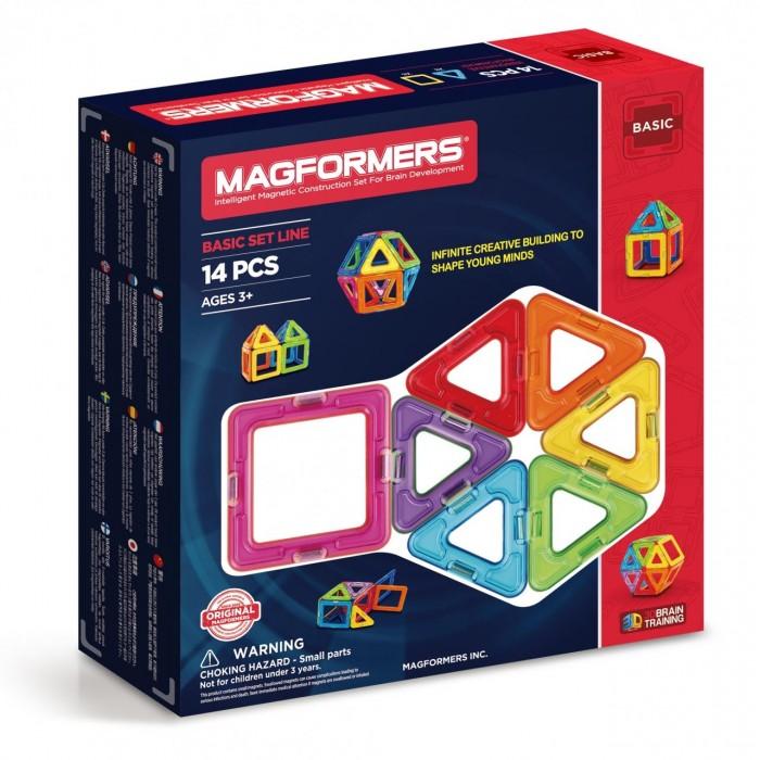 Конструктор Magformers Магнитный Rainbow 14 63069Магнитный Rainbow 14 63069Магнитный конструктор Magformers Rainbow 14 63069.  Несмотря на то, что набор содержит небольшое количество деталей, его возможности достаточно широки.   Ребенок научится различить геометрические формы, цвета, сможет освоить новый мир форм, делать несложные аппликации. Малыш сам создаст свой первый домик не только на плоскости, но и в трехмерном пространстве, таким образом сможет почувствовать разницу между двухмерными и объемными фигурами.  Из набора магнитный конструктор Magformers 14 деталей, состоящего из квадратов и маленьких треугольников, Ваш малыш может научиться собирать кубик, маленький домик, рыбку и другие интересные сооружения.   Магнитный конструктор Magformers 14 деталей подходит для девочек и мальчиков совсем маленьких от 2-х лет и для тех детей, которые только знакомятся с увлекательной игрушкой.  Магнитный конструктор Magformers оставит незабываемое впечатление не только для детей, но и для их родителей, которые будут в восторге от зрелища, которое происходит при сборке магнитного конструктора Magformers!  Конструктор развивает пространственное воображение, фантазию, чувство пропорции, моторику и многое другое. Все детали этого набора совместимы с другими наборами Magformers - это позволяет делать очень интересные комбинации.  Магнитный конструктор Magformers относится к категории лучших развивающих игрушек для малышей и детей постарше. Это необыкновенный конструктор, который ценится своим многообразием и качеством материала. Детали магнитного конструктора Magformers сделаны из высококачественного пластика, который является абсолютно безопасным даже для самых маленьких строителей.  С каждой стороны фигуры магнитного конструктора Magformers внутри есть специальный магнит, благодаря которому детали конструктора могут соединяться между собой. Держатся детали довольно крепко, созданную конструкцию можно поднять за верхушку.  Магнитный конструктор Magformers – это развивающая игр