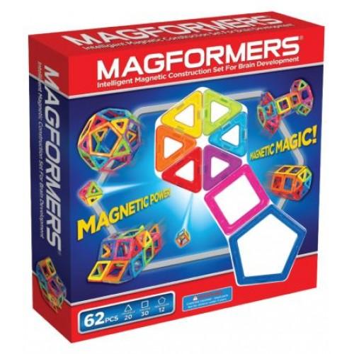 Конструктор Magformers Магнитный Rainbow 62 63070Магнитный Rainbow 62 63070Магнитный конструктор Rainbow 62 Piece Set Magformers 63070 - набор привлекателен большим количеством деталей. В него входят квадраты, треугольники и пятиугольники. Благодаря этому набору ребенок может делать не только технические постройки, но и животных, более сложные шары, которые начинаются с пятиугольников, и, при постепенном добавлении квадратов и треугольников, превращаются во что-то сказочное и необычное.    Набор будет интересен ребенку любого возраста. Совсем малыши смогут создавать аппликации на плоскости, на магнитной доске или, например, на холодильнике. Также ребенку в возрасте около года будет интересно ломать башни и кубики, которые могут для него сделать его родители. Причем это будет совсем безопасно, т.к. пораниться или проглотить детали малыш не сможет.  Магнитный конструктор Magformers относится к категории лучших развивающих игрушек для малышей и детей постарше. Это необыкновенный конструктор, который ценится своим многообразием и качеством материала. Детали магнитного конструктора Magformers сделаны из высококачественного пластика, который является абсолютно безопасным даже для самых маленьких строителей.  С каждой стороны фигуры магнитного конструктора Magformers внутри есть специальный магнит, благодаря которому детали конструктора могут соединяться между собой. Держатся детали довольно крепко, созданную конструкцию можно поднять за верхушку.  Magformers — лучшая трехмерная игрушка для развития воображения, пространственного мышления и общих мыслительных способностей. Дети могут превращать плоские предметы в объёмные, изучать принципы магнетизма.  Все наборы конструктора Magformers совместимы и большее количество элементов не ограничат фантазию вашего ребенка – это будет огромный простор для творчества и воображения. Можно построить башни, дома, замысловатые фигуры – все в руках вашего ребенка.  Конструктор Magformers 62 состоит из: 12 пятиугольников 20 треугольников 