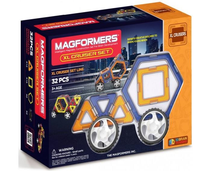 Конструктор Magformers Магнитный Xl Сruisers Машины 63073Магнитный Xl Сruisers Машины 63073Магнитный конструктор Magformers Xl cruisers машины 63073 идеально подходит для детей от 5-х лет, увлекающихся моделированием машин. Он позволяет собирать около 18 моделей машин, непосредственно представленных на коробке и в книге идей. Вы сможете создать как самые простые машины, так и действительно креативные и необычные. Самое удивительное, что все созданные вами машины будут ездить!  Кроме того, количество деталей в этом наборе позволяет собирать различные постройки (ракеты, лодочку, здания, столы, стулья для своих любимых игрушек). Ваш ребенок сможет проявить свою фантазию и создать, например, гараж для своих машинок.  Магнитный конструктор Magformers относится к категории лучших развивающих игрушек для малышей и детей постарше. Это необыкновенный конструктор, который ценится своим многообразием и качеством материала. Детали магнитного конструктора Magformers сделаны из высококачественного пластика, который является абсолютно безопасным даже для самых маленьких строителей.  С каждой стороны фигуры магнитного конструктора Magformers внутри есть специальный магнит, благодаря которому детали конструктора могут соединяться между собой. Держатся детали довольно крепко, созданную конструкцию можно поднять за верхушку.  Magformers — лучшая трехмерная игрушка для развития воображения, пространственного мышления и общих мыслительных способностей. Дети могут превращать плоские предметы в объёмные, изучать принципы магнетизма.  Все детали этого набора совместимы с другими наборами Magformers, это позволяет делать очень интересные комбинации.  В набор входит: 12 треугольников, 16 квадратов, 2 шестигранника, 112 встроенных внутрь магнитов, 4 колеса диаметром 5,5 см с осями, книжка-буклет с вариантами построек.  Материал: высококачественный пластик, магнит Размеры упаковки: 28,2 х 11,7 х 21,5 см Упаковка: коробка<br>