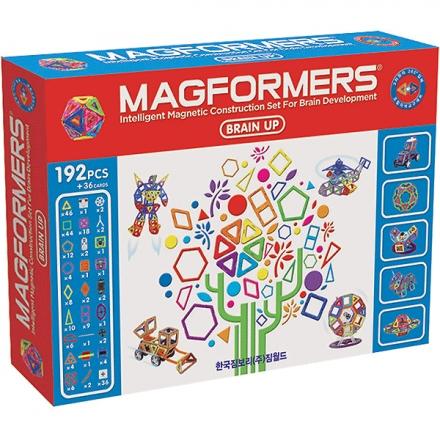 Конструктор Magformers Магнитный Brain Up Set 63083Магнитный Brain Up Set 63083Магнитный конструктор Magformers Brain Up Set 63083 - этот набор, по сути, уникален.   В нем 192 детали + 36 бонусов в виде вставок в квадраты. Он вмещает в себя множество наборов. Это и набор XL Cruisers Машины, который позволит вам делать различные виды машин - от самых простых до затейливых и необычных. И XL Cruisers Строители - с ним мир строительной техники и дорожных служб будет для вас открыт.  Также в наборе вы найдете детали из XL Cruisers Службы Спасения, а это значит, что ваш ребенок сможет построить различную спасательную технику и почувствовать себя настоящим героем. С Magformers Карнавал вам откроется мир волшебства, каруселей и магических фигур, а Super Magformers 30 подойдет для создания супер башен, громадных домов и прочего. Еще в этом наборе есть различные колеса, включая новую модификацию, - одинарные колеса.  Набор Magformers Brain Up Set содержит 228 элементов.<br>