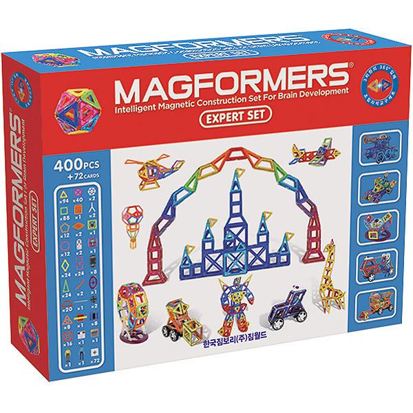 Конструктор Magformers Магнитный Expert Set 63084Магнитный Expert Set 63084Магнитный конструктор Magformers Expert Set 63084 самый большой среди всех конструкторов Магформерс.  Этот фантастический набор включает в себя 400 деталей и 72 квадратные вставки с цифрами и буквами. В него входят основные магнитные элементы Магформерс в очень большом количестве, а также исключительные детали из различных тематических конструкторов.  «Magformers Expert Set» вобрал в себя все лучшее из самых популярных наборов Магформерс: Designer Set, Carnival Set, Super 30, XL Cruisers Машины, XL Cruisers Служба Спасения, XL Cruisers Строители, Magformers 62.  Такое разнообразие деталей и аксессуаров позволяет строить замки и города, сказочных животных и роботов, строительную технику и машины специальных служб, вертолеты и ракеты, карусели и все, что подскажет фантазия!  Отдельного внимания заслуживают карточки-вставки, на которых изображены цифры, математические знаки и буквы латинского алфавита. Это очень удобный дидактический материал для целого курса занятий арифметикой и иностранными языками в игровой форме.  Набор Magformers Expert Set содержит 472 элемента.<br>