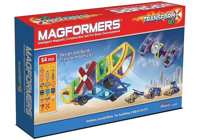 Конструктор Magformers Магнитный Transform Set 63089Магнитный Transform Set 63089Магнитный конструктор Magformers Transform Set 63089 подходит для знакомства ребенка с миром авиации, техники. Он состоит из 54 деталей.   Magformers Transform Set уникален тем, что в его состав входят новые детали - сектор, арка, минипрямоугольник, а также специальные аксессуары, которые позволят маленькому авиатору создавать вертолеты, самолеты, космические корабли.  Среди аксессуаров вы сможете найти пушку для строительства военной техники, пропеллер для авиатехники, одиночные колеса, которые будут как шасси для самолета, так и опорами для, например, лунохода.   Антенна незаменима для космической техники: вездехода, космической станции, ракеты - ведь все это станет гораздо реалистичнее с нею. Специальные вращающиеся блоки и шарниры сделают аксессуары подвижными, что, безусловно, добавляет игре динамики и интереса.  Набор Magformers Transform Set содержит 54 элемента.<br>