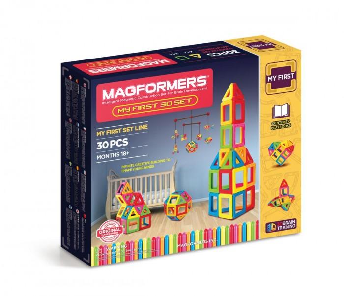Конструктор Magformers Магнитный My First 30 63107Магнитный My First 30 63107Магнитный конструктор Magformers My First 30 63107.   Детали, которые вы можете увидеть в данном наборе, выполнены из непрозрачного пластика ярких цветов. Сначала ребенок может изучать сами детали - они крупные и не имеют острых углов и неровных краев, что исключает проглатывание или повреждение нежной кожи малышей.   Вы можете создавать аппликации на плоскости, например, на холодильнике. А так как детали будут прилипать любой стороной, то у ребенка не будет сложностей с самостоятельным выполнением данного задания.   С этим набором вы сможете заниматься с вашим ребенком изучением цветов и геометрических форм в более старшем возрасте. Дальше можно переходить к изучению объемных фигур и созданию первых построек.  Набор Magformers My First 30 содержит 30 элементов: - треугольников 12 шт. - квадратов 18 шт.<br>