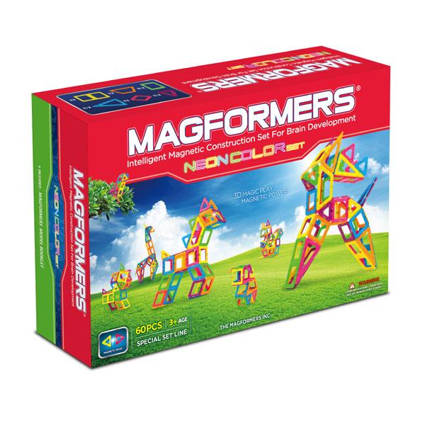 Конструктор Magformers Магнитный Neon Color Set 60 63110Магнитный Neon Color Set 60 63110Магнитный конструктор Magformers Neon Color Set 60 63110.  Этот набор Магформерс немного отличается от других наборов своими яркими цветами. Специальные неоновые цвета деталей понравятся вашему ребенку, при этом в данном наборе сохранены все функции стандартных наборов Магформерс - внутри пластика прочно закреплены мощные неодимовые магниты, пластик безопасен и нетоксичен.  Набор Magformers Neon Color Set содержит большое количество разнообразных деталей, которые помогут вашему ребенку развить пространственное мышление, воображение, изучить принципы построения объемных фигур и запомнить различные геометрические формы. С данным набором вы сможете вместе с ребенком создать необычных животных и уникальные постройки.   Сами детали совместимы с другими наборами магнитного конструктора Магформерс. Набор может стать не только стартовым набором для вашего ребенка, но и прекрасным дополнением к уже существующим у вас деталям Магформерс. А за счет ярких неоновых цветов детали этого набора не потеряются среди других.  В комплект входит специальная книга идей, которая наглядно демонстрирует возможности магнитного конструктора. Сам набор упакован в красочную качественную коробку и станет долгожданным подарком для вашего ребенка.  Набор Magformers Neon Color Set содержит 60 элементов.<br>