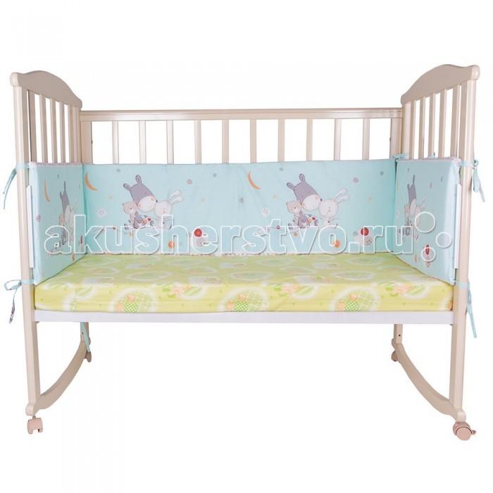Комплект в кроватку Soni Kids Лунные сны (7 предметов)Лунные сны (7 предметов)Очень красивый высококачественный комплект в кроватку, состоящий из 7 предметов.   Ткань: поплин.  Состав: 100% высококачественный хлопок.  Наполнитель: холлофайбер. Балдахин: вуаль п/э.  Размеры: Пододеяльник- 140х110  Простынка на резинке - 150х90 Наволочка -60х40  Одеяло -140х110  Подушка -60х40  Бортик -360х44<br>