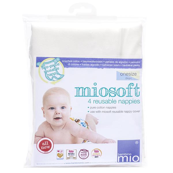 Bambino Mio Хлопковые Подгузники-Вкладыши Размер One 4 шт.Хлопковые Подгузники-Вкладыши Размер One 4 шт.Хлопковые Подгузники-Вкладыши Размер One  Удивительно мягкие и удобные, трехслойные подгузники сделаны из хлопка высочайшего качества.   Выполнены из 100% хлопка, натурального материала, позволяющего коже малыша дышать и сохранять здоровую температуру. Обеспечивают максимум комфорта и отличную впитываемость.  Складываются разными способами с учетом индивидуальных потребностей ребенка. Подходят для использования с трусиками-подгузниками Miosoft и другими системами многоразовых подгузников. Используются от рождения.  Стирка и уход: Машинная стирка (60C) и сушка;  Не использовать хлорсодержащие отбеливатели Не гладить<br>