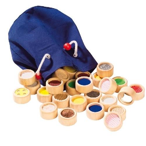Игры для малышей Goki Игра Мemo сенсорная Текстуры в мешочке Cause