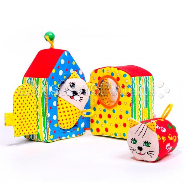 Развивающая игрушка Мякиши Кошкин домКошкин домРазвивающая игрушка Мякиши Кошкин дом с симпатичными жильцами – станет понятной и полезной игрушкой как для совсем ещё малыша, так и для деток постарше.   Особенности: Первым этот комплекс поможет обогатить опыт тактильных ощущений, обеспечить развитие мелкой моторики, цветовосприятия, слухового восприятия, установление элементарных причинно-следственных связей  Формированию связной речи и развитию воображения поспособствует возможность ребёнка разыгрывать небольшие сценки, придумывать свои истории про обитателей домика При поставке цветовые решения игрушек могут отличаться от выложенных на сайте  Размеры: 18 х 16 х 13 см<br>
