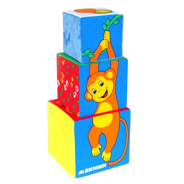 Развивающая игрушка Мякиши Кубики Африка 3 шт.Кубики Африка 3 шт.Развивающая игрушка Мякиши Кубики Африка - это набор, включающий три кубика разного размера. С этими мякишами малыш сможет не только строить башенки, но и составлять красочную картинку, сопоставляя разделенные фрагменты.   Особенности: Внимательно рассмотрев выложенную из кубиков фигурку, малыш найдет на ней изображения ананаса, киви, кокоса, пальмы и, конечно, смешной мартышки Выстраивая башенку от большого кубика, малыш получит картинку веселого зверька, а от меньшего – пальмы Изготовлено из гипоаллергенных материалов   Кубики развивают: Воображение Внимание Терпение Мелкую моторику пальцев Координацию движений Память Речь  Размеры:  Большой кубик: 12 х 12 х 12 см Средний кубик: 10 х 10 х 10 см Маленький кубик: 8 х 8 х 8 см<br>