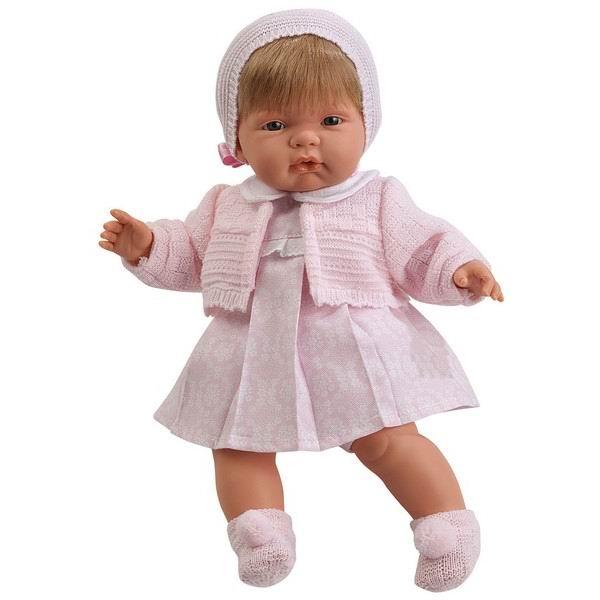 Llorens Кукла Лола 38 см L 38284Кукла Лола 38 см L 38284Llorens Лола 38 см - эта кукла станет отличным подарком для вашей дочки, будет лучшей подругой или дочкой. Оригинальная кукла, которая очень похожа на настоящего малыша.   Кукла Лола 38 см умеет плакать и говорить «мама», «папа». К  кукле прилагается соска. Если вынуть соску изо рта куклы, то она начинает плакать. Для того чтобы она перестала плакать: поместите соску в рот куклы.  Ручки и ножки сделаны из плотного ПВХ, тело мягконабивное. Голова, ручки и ножки подвижны. Все звуки можно отключить.   В комплекте: кукла в одежде, соска-пустышка с цепочкой.  Перед эксплуатацией куклы расстегните на спинке одежду и удалите защитную пластину. Кукла работает на 3 батарейках AG13/LR44 (входят в комплект). Батарейный отсек расположен на спине куклы. Для замены батареек расстегните одежду на спинке куклы, с помощью крестовой отвертки откройте батарейный отсек, замените батарейки, закройте крышку батарейного отсека.  Упаковка - подарочная коробка.<br>