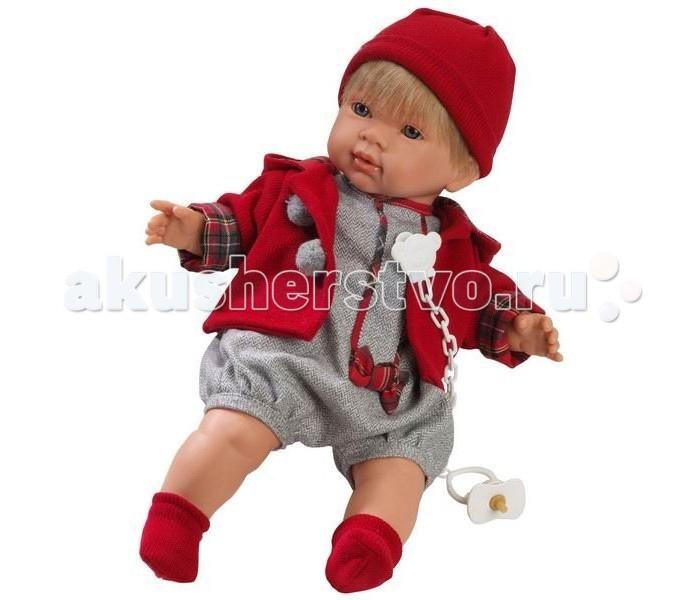 Llorens Кукла Саша 42 см L 42107Кукла Саша 42 см L 42107Llorens Саша 42 см - эта кукла станет отличным подарком для вашей дочки или сыночка, будет ему лучшим другом. Оригинальная кукла, которая очень похожа на настоящего малыша.   Кукла Саша 42 см умеет плакать и говорить «мама», «папа». К кукле прилагается соска. Если вынуть соску изо рта куклы, то она начинает плакать. Для того чтобы она перестала плакать: поместите соску в рот куклы.  Ручки и ножки сделаны из плотного ПВХ, тело мягконабивное. Голова, ручки и ножки подвижны. Все звуки можно отключить.   В комплекте: кукла в одежде, соска-пустышка с цепочкой.  Перед эксплуатацией куклы расстегните на спинке одежду и удалите защитную пластину. Кукла работает на 3 батарейках AG13/LR44 (входят в комплект). Батарейный отсек расположен на спине куклы. Для замены батареек расстегните одежду на спинке куклы, с помощью крестовой отвертки откройте батарейный отсек, замените батарейки, закройте крышку батарейного отсека.  Упаковка - подарочная коробка.<br>