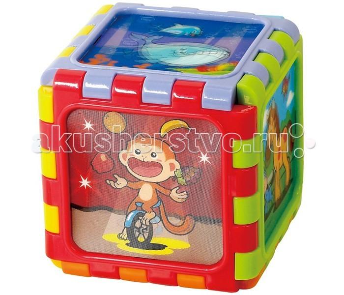 Развивающая игрушка Playgo Разборный мини кубРазборный мини кубРазвивающий центр Разборный мини куб - это конструктор для самых маленьких, снабженный интересными развивающими деталями.   Куб состоит из 6 пластин квадратной формы с зубчатыми краями, благодаря которым пластины соединяются между собой, как пазл.   Пластины возможно соединить разнообразными способами, в результате чего можно получить не только куб или дорожку, но, к примеру, дом с крышей.   Каждая пластинка имеет что - нибудь интересное: одна пластина с зеркалом, на 3-х пластинах изображены забавные картинки с животными (с голографическим эффектом), в 2 пластины можно вставить фото ребёнка и использовать как фоторамку.<br>