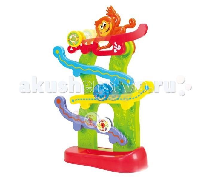Развивающая игрушка Playgo Лабиринт с обезьянкойЛабиринт с обезьянкойРазноцветные колесики, которые скатываются вниз по горкам.   Чтобы запустить колесико, надо нажать обезьянке на хвост.  В наборе 3 разноцветных колесика  Высота игрушки 40 см.<br>