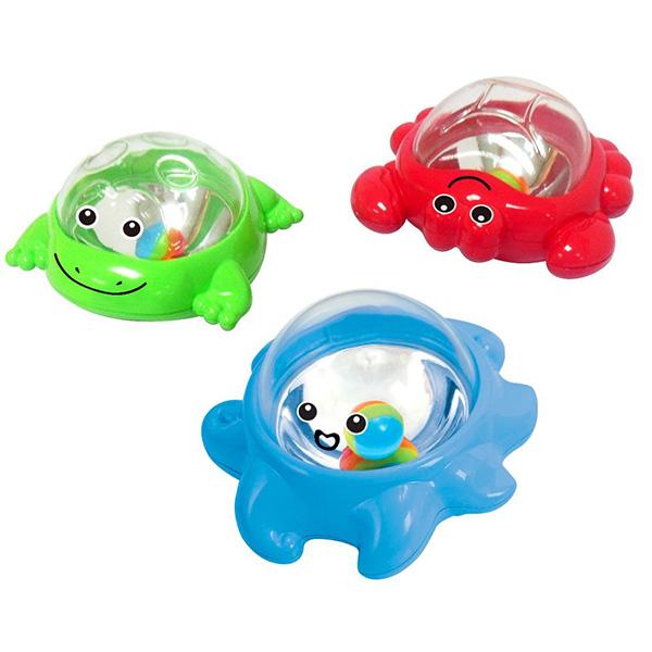 Playgo Игрушки для ванной Мерцающие поплавкиИгрушки для ванной Мерцающие поплавкиМерцающие поплавки для ванной - 3 забавных игрушки для ванной имеют зеркальца, закрытые сверху прозрачным корпусом.   Благодаря этому создается эффект мерцания, когда игрушки покачиваются на волнах, созданных малышом в ванне.   Мерцающие поплавки упакованы в картонную коробку.<br>