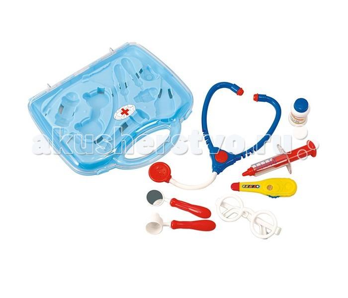 Playgo Набор доктора в чемоданеНабор доктора в чемоданеИгровой набор доктора в чемоданчике включает в себя все необходимые аксессуары для маленького врача, которые создадут увлекательную атмосферу игры.  С этим замечательным набором ребенок сможет примерить на себя роль врача, почувствовать себя квалифицированным специалистом. Теперь все игрушки будут совершенно здоровы!  Все элементы комплекта упакованы в чемоданчик с прозрачной крышечкой.  В наборе: чемоданчик с ручкой - для удобства переноски, стетоскоп, градусник, шприц, очки, зеркальце и другие необходимые предметы для игры в доктора.  Игра в больницу - одна из самых популярных детских сюжетно-ролевых игр. Во время нее ребенок учится общению с другими детьми, отрабатывает навыки социального поведения, развивает свои творческие способности и фантазию.<br>