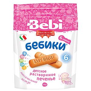 Bebi Детское растворимое печенье Premium Бебики 6 злаков